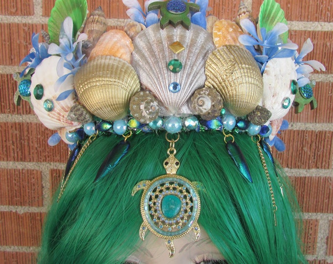 Mermaid Crown, Turtle Mermaid Crown, Mermaid Headband, Mermaid Headdress, Shell Crown, Mermaid Costume, Mermaid Wand, Seashell Tiara