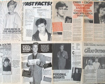 CHRIS YOUNG ~ The Great Outdoors, Max Headroom, Warlock The Armageddon, PCU ~ B&W Articles from 1988-1989