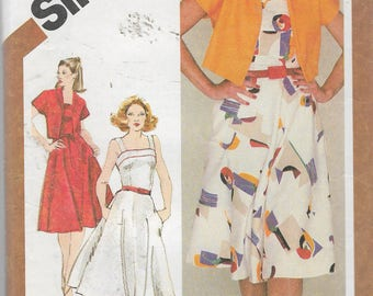 Vintage 1980 Simplicity 9892 Fitted Sundress & Unlined Bolero Jacket Sewing Pattern Size 12 Bust 34""