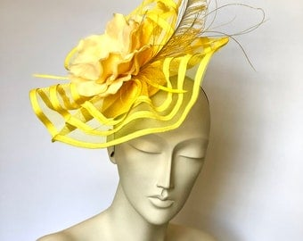 Yellow Kentucky Derby Fascinator Derby Yellow Easter Hat Yellow Church Hat