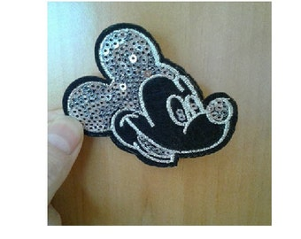 Mickey Mouse - Disney - Cartoon - Silver Sequin Iron On Applique Patch