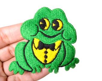 "70s Frog Patch Sew On Green Cute 3"" Retro Baby Nursery Kids Handsome Dapper"