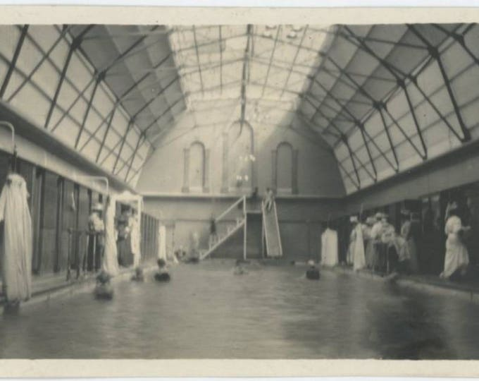 Bath House/Swimming Pool Interior, Early 1900s: Vintage Snapshot Photo (77591)