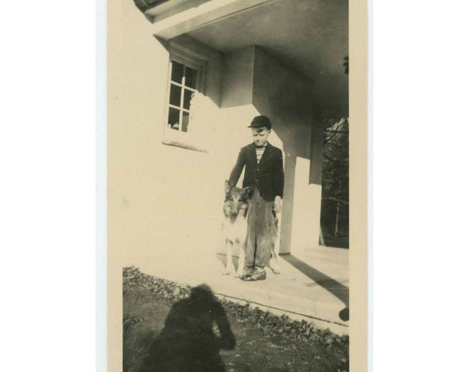 Vintage Snapshot Photo: Boy & Collie Dog, c1940s (77595)