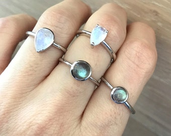 Stackable Gemstone Sterling Silver Ring- Moonstone Labradorite Boho Rings- Round Pear Shape Rings- Small Stack Midi Thumb Knuckle Pinky Ring