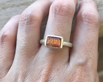 Rectangle Shaped Sunstone Ring- East West Statement Ring- Orange Minimalist Ring- Unique Solitaire Ring- Designer Edgy Ring
