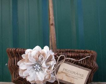 Program Box - Program Basket - Rustic Wedding Basket - Wedding Basket - Program Holder - Wedding Program Sign - Wedding Programs