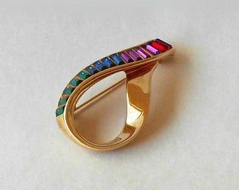 Vintage Swarovski Ribbon Brooch Pin signed S.A.L.©  Multi Color Baguette Crystals