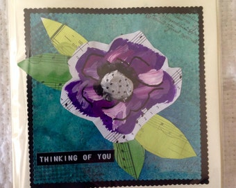 Handmade Floral Mixed Media Thinking of You Greeting Card Purple Green Handpainted