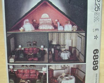 Free shipping! McCall's 6889 Complete 3 room dollhouse vintage sewing pattern. UNCUT