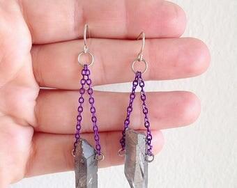 Silver Titanium Quartz Lightening Earrings