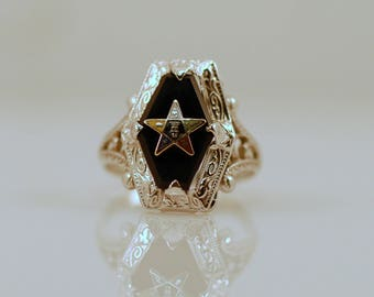 Reserved for Cecilia Vintage Black Onyx Diamond 10k White Gold Marquise Promise Ring Eastern Star