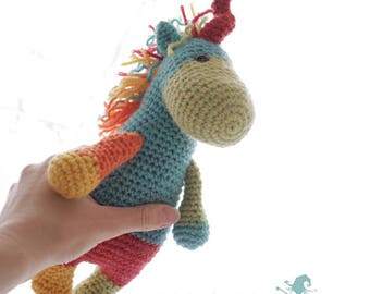 Unicorn crochet pattern, Amigurumi Unicorn toy plushie
