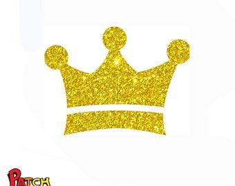 Glitter mini crown iron on patch 12 glittering colors 229