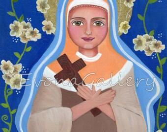 St. Monica, swieta Monika,saint art, saint painting, patron of mothers, patron of marriages, confirmation gift, baptism gift, EvonaGallery