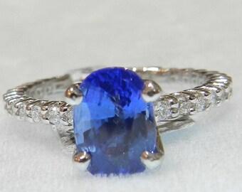Sapphire Ring Platinum 2 Ct Ceylon Blue Sapphire Diamond Engagement Ring Genuine Sapphire Ring Engagement Ring  Platinum