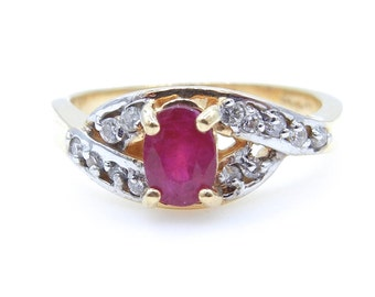 Vintage Ruby and Diamond Ring - 14k Yellow Gold Oval Red Ruby and Diamond Ring - Size 7 3/4 - Weight 2.1 Grams - July Birthstone # 86