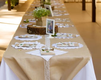 Table runner, made from burlap and ivory lace