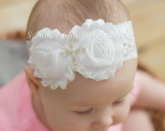 White Baptism Headband, Infant Headband, Newborn Headband, Christening Headband, White Headband, Cross Headband