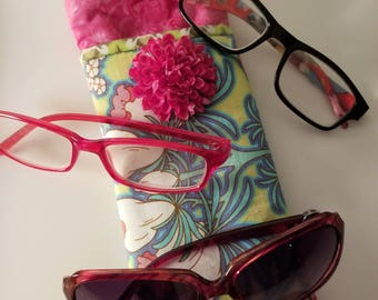 Sunglass Case, Eyeglasses Triple Case, Holder, Accessory, Reader, Modern, Bright, Hot Pink, Floral