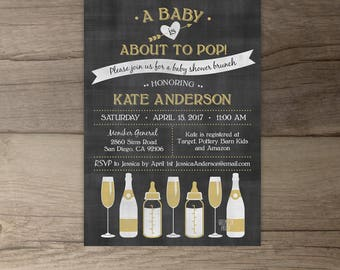 A Baby is About to Pop Champagne Brunch Baby Shower Invitations • chalkboard bottles glasses •  • printable