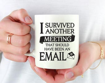 I Survived Another Meeting That Should Have Been An Email Mug, Funny Coffee Mug, Gift For Boss, Gift For Co-Worker, White Elephant Gift 1036