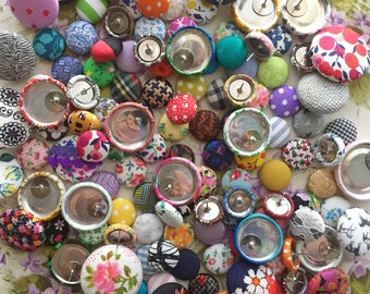 Wholesale Jewelry / Button Earrings / 25 Pairs / Fabric Covered / Gifts for Women / Bulk Lot / RESALE / Birthday Presents / Party Favors