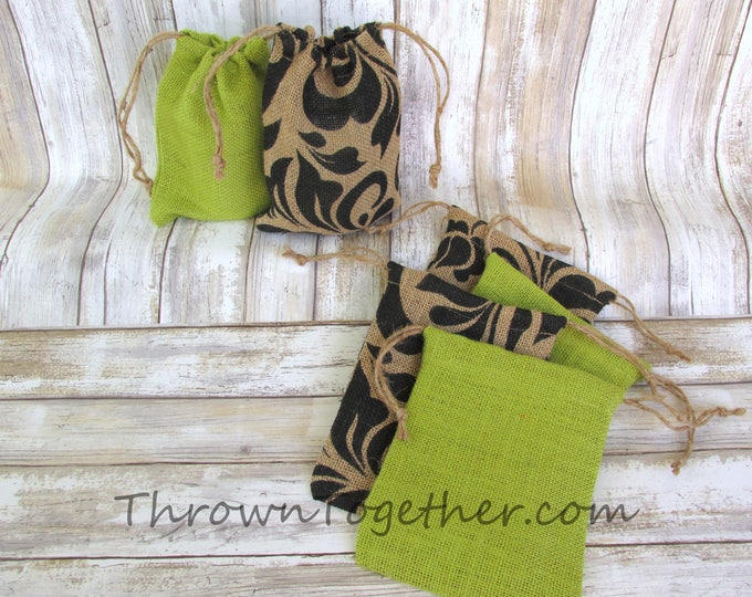 Black Damask & Green Burlap Favor Bags, Halloween Party Favors, Rustic Favor Bags, Party Favor Bags, Set of 6 Handmade Rustic Burlap Bags