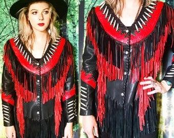 1970s Southwestern Red Black Leather Fringe Horn Flame Stud Rockstar Jacket