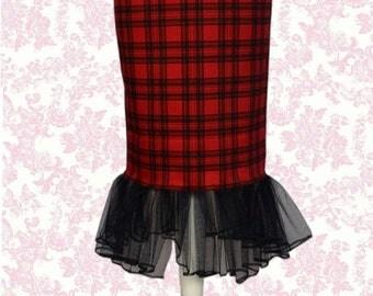 Beautiful Drag Queen Vintage Style Tartan Hobble Pencil Skirt by Frankie & Elvis
