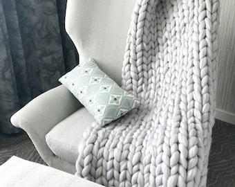 Super Chunky Handmade Knit Blanket/Throw - Merino Wool