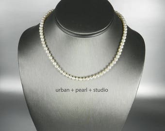 Tiny Pearl Necklace Petite Pearl Choker Little Pearls Ivory Simple Single Strand Freshwater Pearls 13 inch 14 Inch 15 Inch Choker Necklace