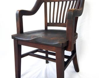 Antique Wood Juror Chair Library Banker's Lawyer Chair Office Seating Vintage Furniture