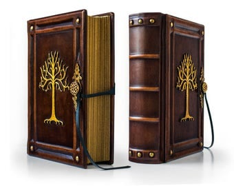 """8"""" x 10"""" - Tree Of Gondor - Large Leather Journal - 640 pages - unique journal, special gift, leather sketchbook, LOTR"""