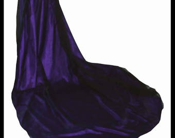 Beautiful Shimmer Organza Cloak with a double layer of Shimmer Satin & Train. Ideal for a Gothic or Alternative Wedding. Made to Measure.