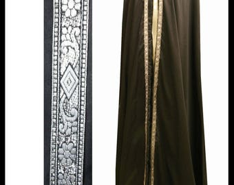 Beautiful Black Poly Cotton Cloak with Medieval silver edging. Ideal for LARP Role Play or a Medieval Event. Made especially for you. NEW!!