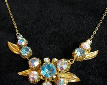 Vintage harlequin and gold tone necklace 11558