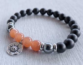 Mens yoga bracelet Power beads Bird and sun bracelet Sunstone bracelet Black onyx mala Healing bracelet Mala bracelet Courage and Abundance