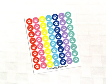 Pet Paw Multicolor Icon Stickers, Vet Appointment, Grooming, Food Reminder, Walking Schedule