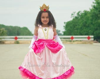 Super Mario Brother Inspired Princess Peach Tutu Dress Costume. Great for a Halloween costume, Themed Party, Dance Recital