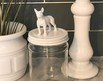 Recycled Glass Jar - Boston Terrier in Bright White