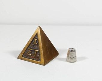Sigma Tau Brass Pyramid Paperweight Iota Sigma Tau Bronze Fraternity Paperweight