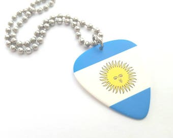 Argentinean Flag Guitar Pick Necklace with Stainless Steel Ball Chain - Argentina