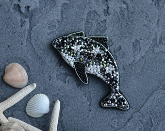 Bead Embroidery Dolphin Brooch Swarovski Whale Pin Brooch Beadwork Nautical Style Jewelry Czech Glass and Seed Beads Jewelry