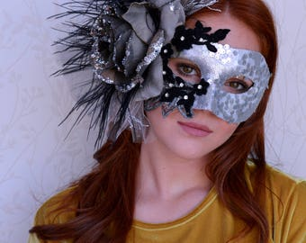 Black silver masquerade mask, Mardi Gras mask, Flower mask, Venetian mask, Feather Lace Mask, Floral mask, Dramatic mask, Silver mask, OOAK