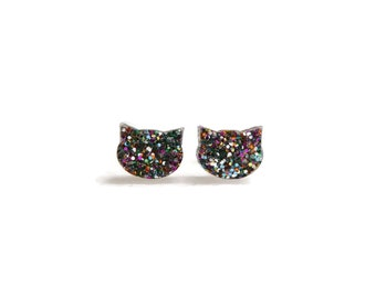 Cat Stud Earrings - Multi Color Cat Post Earrings - Cat Lover Gift - Cat Studs - Cat Post Earrings - Cat Earrings - Acrylic Cat Earrings