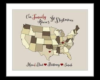 Family, gift for holidays, parents christmas gifts, for mom birthday, gifts for dad, custom map present, quote personalized wall art prints