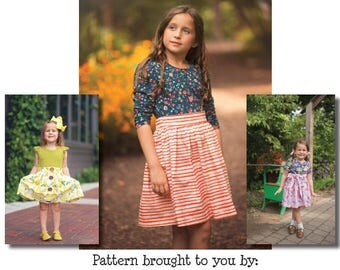 Girls Ainsley Dress PDF Sewing Pattern instant download Sizes 1/2-14