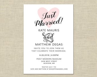 Printable Wedding Reception Invitation, Celebration, After Party Invitation Custom Printable 5x7, Just Married Heart