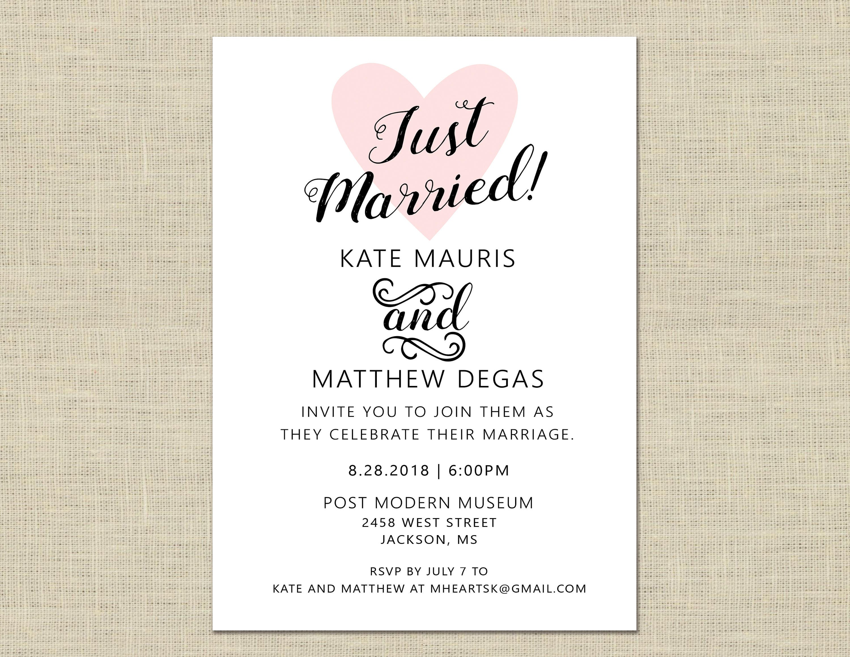 Printable Wedding Reception Invitation, Celebration, After Party ...